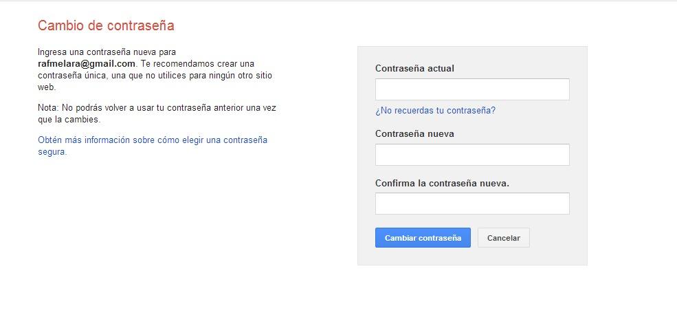 Pantalla de cambiar contraseña en Gmail