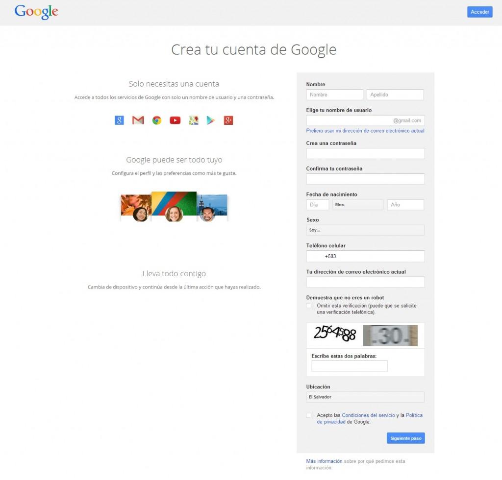 Formulario para crear cuenta Gmail