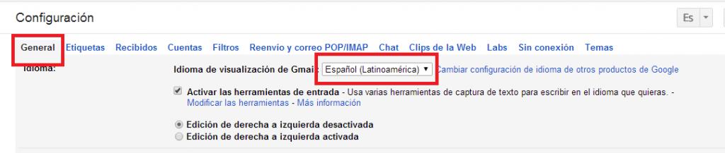 cambiar idioma de Gmail
