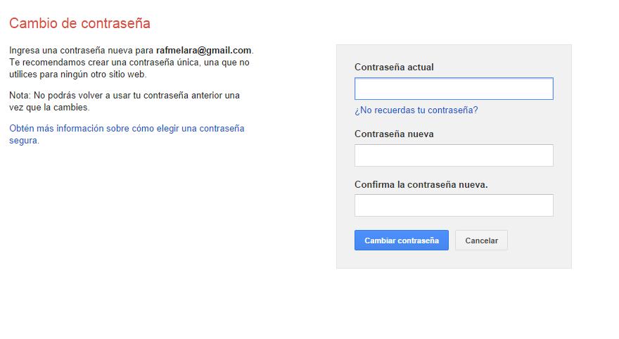 Cómo cambiar la contraseña del correo electrónico Gmail