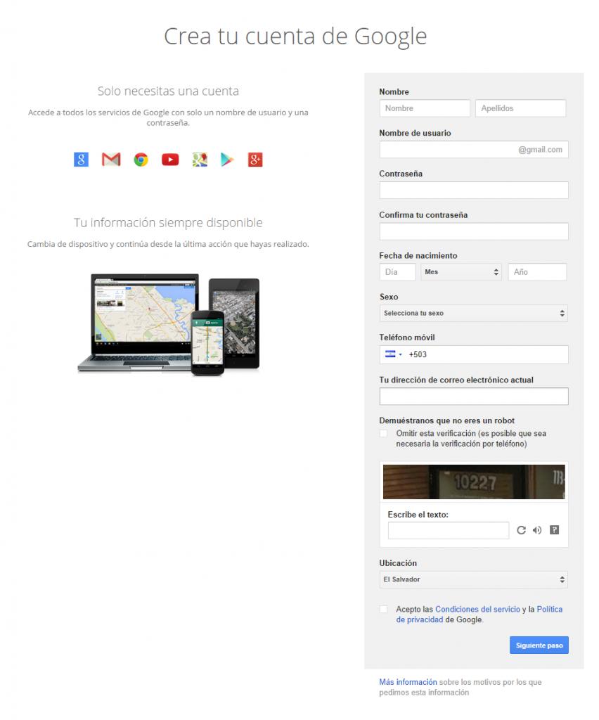 Crea tu cuenta de Google