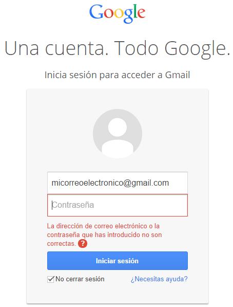 No puedo iniciar sesión en mi cuenta de correo electrónico Gmail