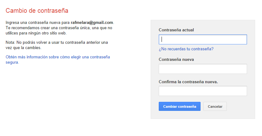 Cambiar mi contraseña de cuenta de Gmail