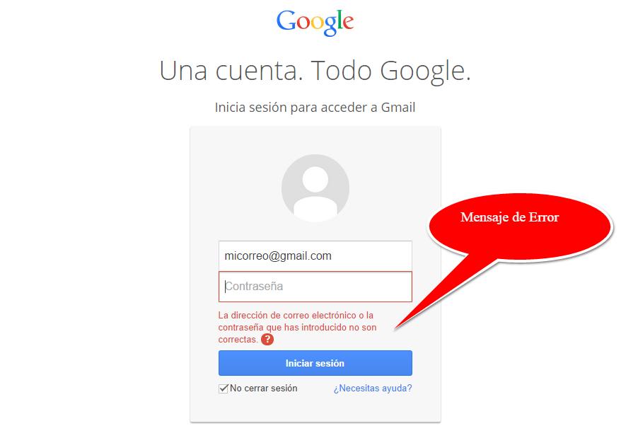 error al entrar gmail