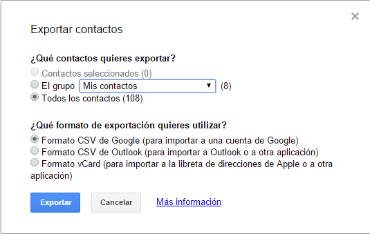 Cómo exportar tus contactos de Gmail4